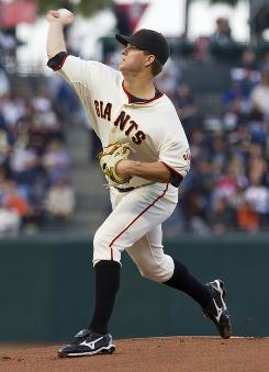 Giants pitcher Matt Cain allowed one run on four hits in eight innings of work to win his second straight start.