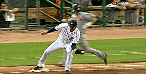Tigers pitcher Armando Galarraga makes the play that led to umpire Jim Joyce's controversial call.