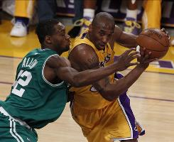 Kobe Bryant, right, drives on Tony Allen during Game 1 of the NBA Finals in Los Angeles.