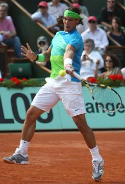 Rafael Nadal of Spain whips a forehand during his straight-sets victory Friday against Jurgen Melzer of Austria in the semifinals of the French Open. Nadal runs his record at Roland Garros to 37-1.