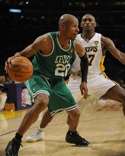 Boston Celtics guard Ray Allen is defended by the Lakers' Ron Artest in Game 2 of the NBA Finals. Allen connected on an NBA Finals record eight threes.