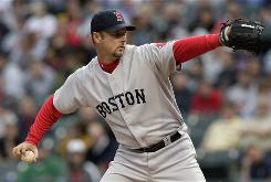 Tim Wakefield, the 43-year-old knuckleballer, became Boston's career leader in innings pitched.