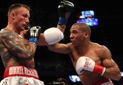 """""""I'm probably one of the most (underrated) fighters in the game,"""" says Andre Ward, right, beating Mikkel Kessler in November."""