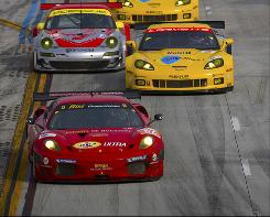 The Ferrari of Gianmaria Bruni and Jaime Melo, shown here leading this year's Grand Prix of Long Beach, is on the GT2 provisional pole at Le Mans.