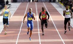 American sprinter Tyson Gay, second from left, won the Men's 200-meter in a time of 19.41 seconds on a specially-constructed straight track in his first outing of the season in central Manchester, England. Gay and Jamaican sprinter Usain Bolt will both appear at the Adidas Grand Prix track meet Saturday, but neither will compete in the 100-meter sprint.