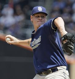 The Padres' Mat Latos gave up two runs and two hits while striking out eight over six innings.