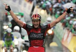 German Marcus Burghardt celebrates on the finish line as he wins the fifth of the Tour of Switzerland cycling race.