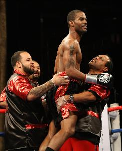Allan Green celebrates after defeating Carlos DeLeon Jr. during their bout at the MGM Grand at Foxwoods on April 25, 2009 in Mashantucket, Conn. Green gets his first tournament and world title shot, when he takes on WBA 168-pound champion Andre Ward on Saturday night in Oakland (Showtime, 10 p.m. ET).