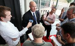 John MacLean is interviewed at a news conference after being introduced as the new coach of the New Jersey Devils.