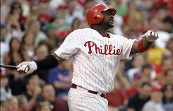 The Phillies' Ryan Howard watches his second-inning home run sail out of Citizens Bank Park as Philadelphia won its third game in the last four.