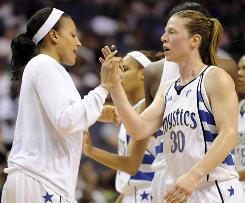 Mystics guard Katie Smith, right, high-fives teammate Marissa Coleman during the second half against the Sky. Smith scored 15 of her season-high 17 points after intermission as Washington came back to win the game in overtime.