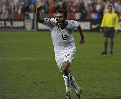 Jonathan Bornstein celebrates after heading in the tying goal in the final seconds of a World Cup qualifier match against Costa Rica.