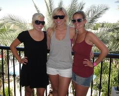 Brittany Force (left), Courtney Force (center) and friend Britta Meza soak in the sun in Palm Springs during Courtney Force's 22nd birthday getaway weekend.