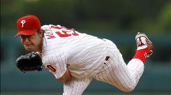 The Phillies' Jamie Moyer gave up his 505th career home run, but the solo shot was the only run the 47-year-old allowed in eight innings.