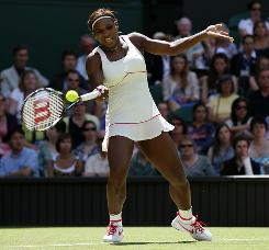 Serena Williams of the USA opens the defense of her Wimbledon championship with a straight-sets victory against Michelle Larcher de Brito of Portugal.