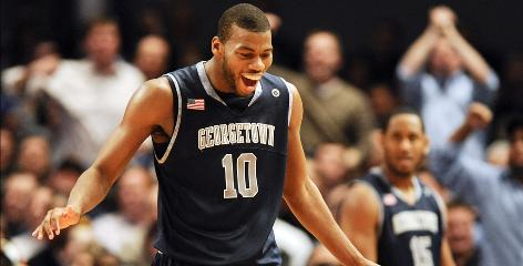 Greg Monroe, shown here during the Big East Conference tournament in March, is on the radar of several Western Conference teams picking in the top ten of the NBA draft.