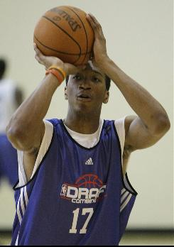 Wesley Johnson warms up during the NBA Draft Combine in May. Johnson is likely a top five pick in the draft.