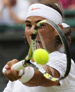 "Rafael Nadal of Spain says the new strings in his Babolat racket enable him to ""feel the ball more time inside the racket"" and provide ""a little bit more control."""