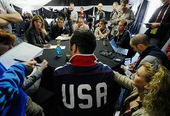 Landon Donovan meets with reporters on Thursday in advance of the U.S. team's match against Ghana on Saturday.
