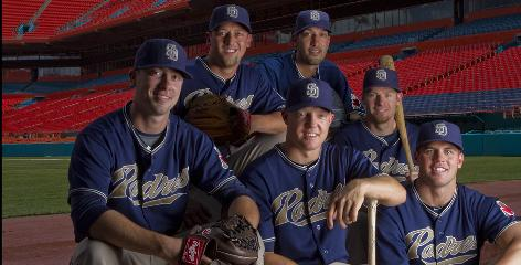 The Padres were picked by most to finish last in the National League West. Instead, the team has a commanding lead, sparked by players such as, front row, from left, Wade LeBlanc, Nick Hundley, Clayton Richard and, back row, from left, Luke Gregerson, Mike Adams and Chase Headley.