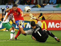 David Villa of Spain scores the game's only goal during Spain's Round of 16 match against Portugal.