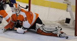 Philadelphia Flyers goalie Michael Leighton had three shutouts in the Eastern Conference final against the Montreal Canadiens.