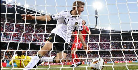 Midfielder Thomas Mueller, 20, celebrating the first of two goals against England on Sunday, leads the talented German team with three goals in the World Cup.