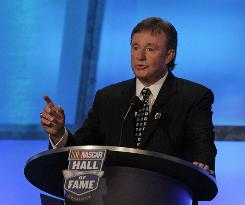 Richard Childress speaks during the induction of his former driver Dale Earnhardt into the NASCAR Hall of Fame on May 23. The nominees for the next class were announced Thursday and the five inductees will be choosen in October.