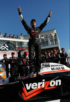 Will Power celebrates winning the IZOD IndyCar Series Camping World Grand Prix at the Glen.