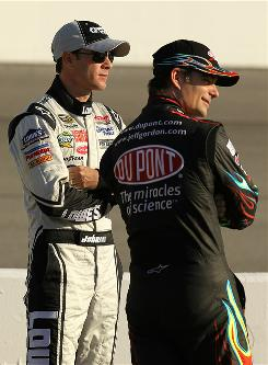 Through the first half of the NASCAR Sprint Cup Series season, Jeff Gordon, right, has endured run-ins with several drivers, including teammate Jimmie Johnson, left.