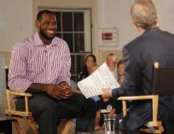 LeBron James sits with ESPN's Jim Gray before making his decision Thursday night in Greenwich, Conn.