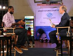 LeBron James and Jim Gray on the set of 'The Decision' in Greenwich, Conn.