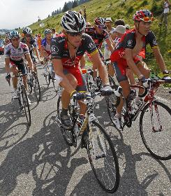 The USA's Lance Armstrong, center, was caught up in three crashes during the eighth stage of the Tour de France and feels like his chances of an eighth title are slim.