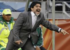 The doctor of Argentina coach Diego Maradona, above, says rumors of the soccer legend turning to drugs and alcohol following the South Americans' exit from the World Cup are false.