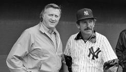 Yankees boss George Steinbrenner, left, hired Billy Martin, right, five times as manager.