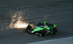Sparks fly from another car as Danica Patrick races June 5 in the Firestone 550k at Texas Motor Speedway, where she finished second.
