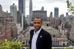 French soccer star Thierry Henry gets a rooftop view of New York after an interview with the Associated Press.
