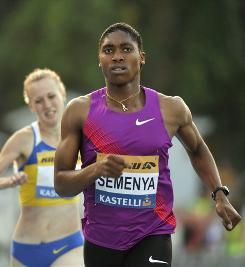 South African runner Caster Semenya shook off the rust of a nearly year-long layoff and won the 800 meters in 2:04.22.