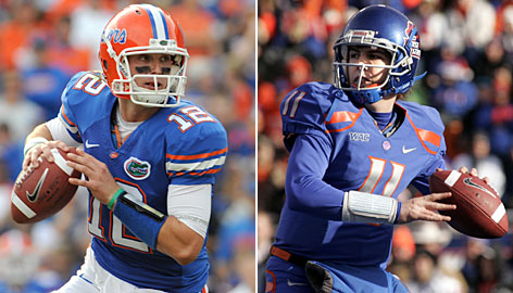 According to USA TODAY's BCS bowl predictions, Florida QB John Brantley will face off with Boise State and Kellen Moore in Atlanta this year.