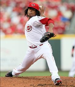In his first game back from elbow surgery, Reds starter Edinson Volquez struck out nine and allowed one run and three hits in six innings.