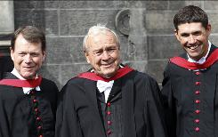 Former British Open champions Tom Watson, left to right, Arnold Palmer and Padraig Harrington received honorary degrees last week from the University of St. Andrews, in St. Andrews, Scotland.