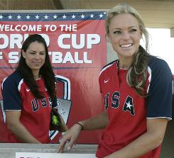 """Team USA's Jessica Mendoza, left, says the retiring Jennie Finch, right, is """"the most popular person in our sport. How many other sports can you say that their most popular player is the best person to the fans than anyone else?"""""""