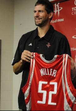 Brad Miller was introduced as the newest member of the Houston Rockets after signing a three-year contract Tuesday.