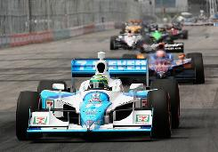 Tony Kanaan leads a pack through the streets of Toronto on the way to a fourth-place finish.