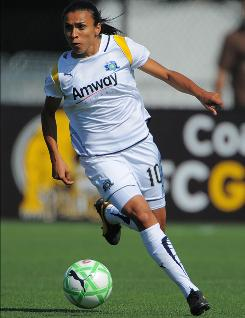 FC Gold Pride's Brazilian playmaker Marta, shown in action in 2009 with her former team, the Los Angeles Sol, is a four-time FIFA women's world player of the year.