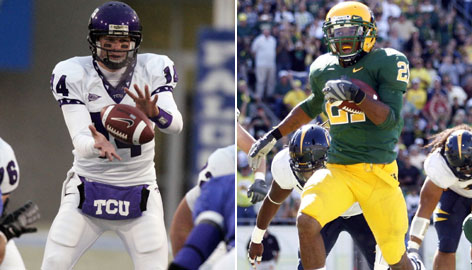 TCU quarterback Andy Dalton, left, and Oregon running back LaMichael James both helped their teams to BCS bowl games last year.