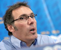 Laurent Blanc, talking during a news conference on July 6, replaced Raymond Domenech as France's national soccer coach.