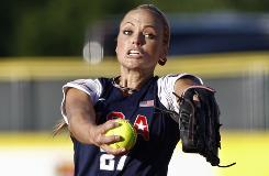 Jennie Finch, releasing a first-inning pitch against Japan, had a no-hitter entering the fifth inning as the United States won its second straight game at the World Cup of Softball.