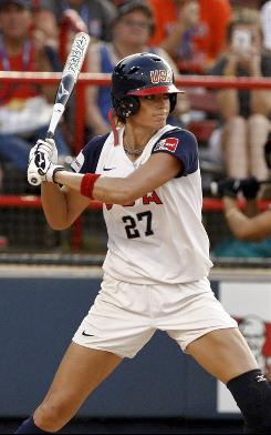 Jennie Finch bats against Japan in the first inning during the World Cup of Softball championship game. The two-time Olympian announced her retirement last week and Monday was her final game with Team USA.