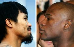 The camps of Manny Pacquiao, left, and Floyd Mayweather Jr. continue to tell conflicting versions about whether negotiations for a potential bout have taken place.